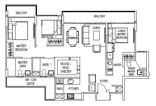 Watercolours Floorplans Executive Condominium