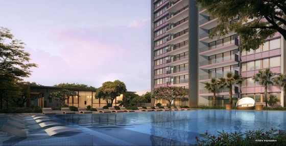 the-amore-ec-punggol-evening-pool-singapore