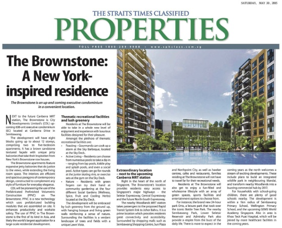 Straits Times 30 May 15 report on The Brownstone